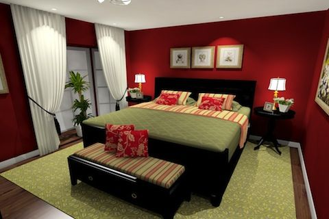 Red bedroom paint with green accents. Dark wood furniture. | Itty ...