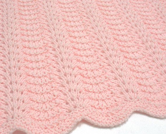 Baby Girl Blanket Knitting Patterns : Hand Knit Baby Blanket Pink Baby Blanket Knitted Light Pink Baby Afghan Blank...