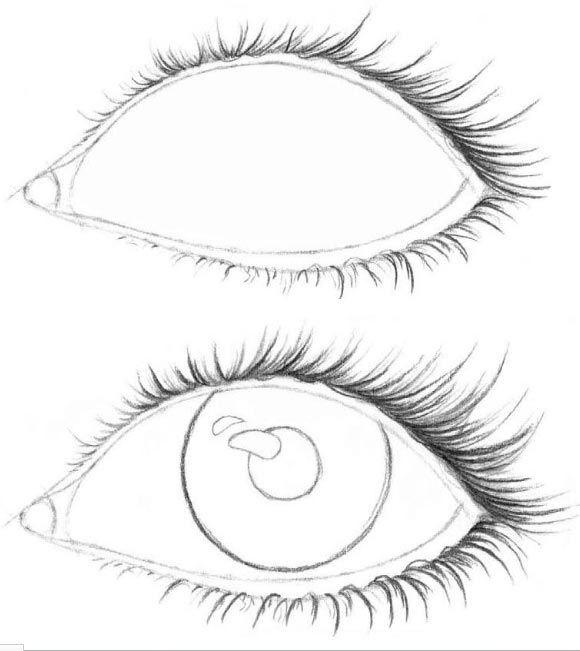 Красиво нарисовать глаз пошаговое фото