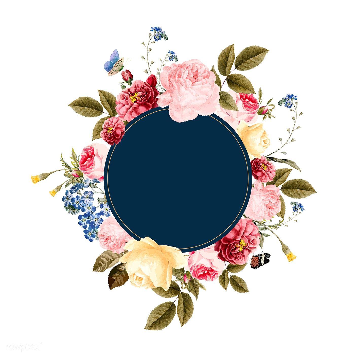Download Premium Vector Of Blank Floral Frame Card Illustration 471704 Floral Wreaths Illustration Flower Logo Wreath Illustration