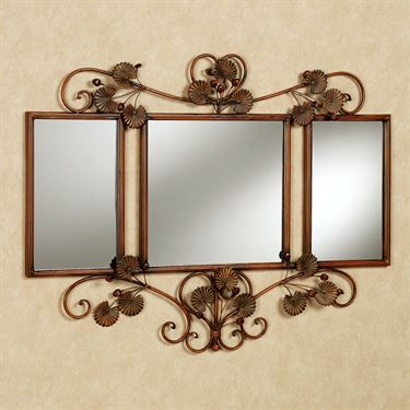 Blooming Ginkgo Wall Mirror Bronze