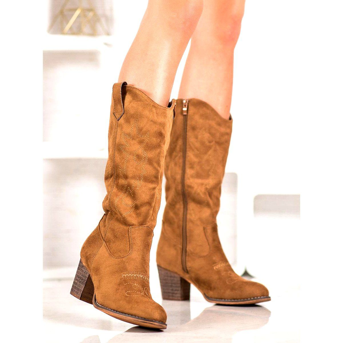 Abloom Kozaki Kowbojki Brazowe Boots Shoes Riding Boots