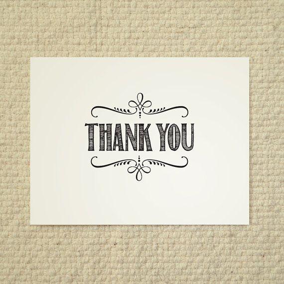 Diy Thank You Card Handlettered Rustic Love Printable Pdf