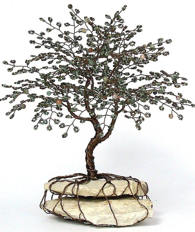 craft tree of life   Life Tree Beaded Bonsai Wire Tree Sculpture by ...
