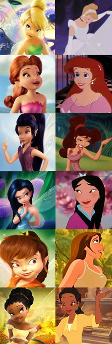cool :) the fairies all have their princess look-alike matches! AND PERIWINKLE SHOULD BE ON HERE MATCHED WITH ELSA!!! <3