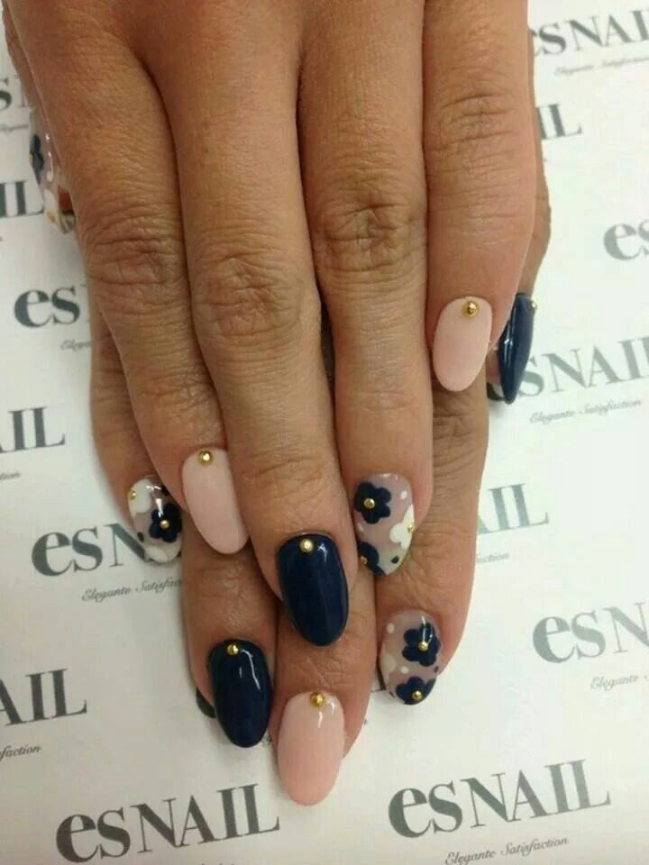 Pink and navy blue floral nails | Nails | Pinterest | Nail inspo ...