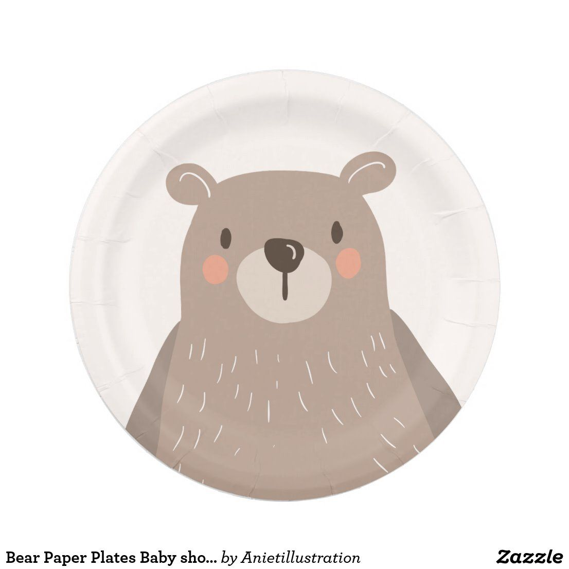 Paper plates Celebration|Disposables Plates|Customize 9/' in size Bear Theme|Baby Shower Event