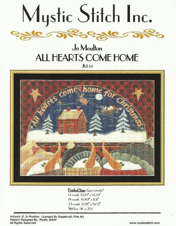 "Snowmen Winter Scene Christmas Counted Cross Stitch Design/Pattern from Mystic Stitch Only Full Cross Stitches 19.14"" x 14.29"" on 14 ct"