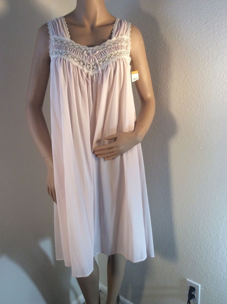 NWT Miss Elaine Silk Essence Pink Nylon Nightgown Size Small ...