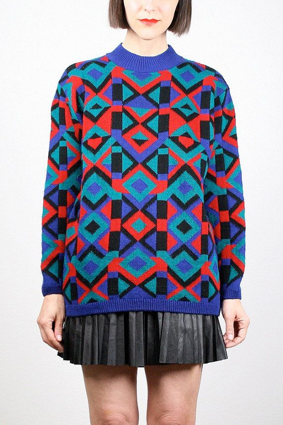 35c356a4f4eedd Vintage 80s Sweater Red Green Blue Black Rainbow Geometric Print Knit Mod  Abstract Cosby Sweater Pullover Jumper New Wave M Medium L Large  vintage   etsy ...