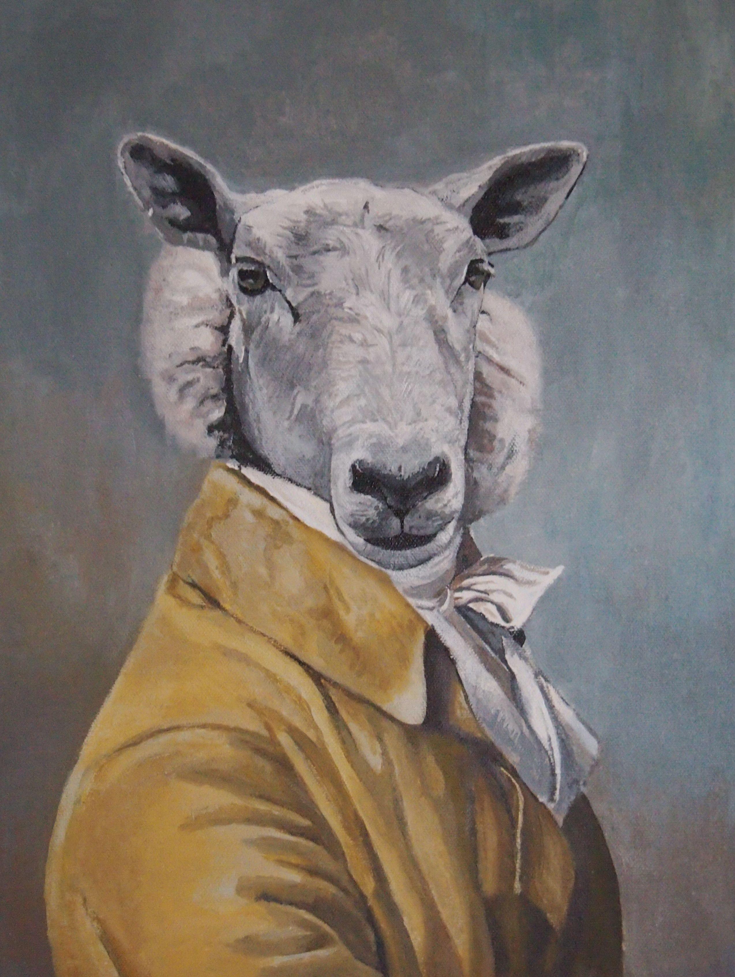 tableau portrait animalier animal humanisé peinture acrylique sur toile | Mouton dessin ...