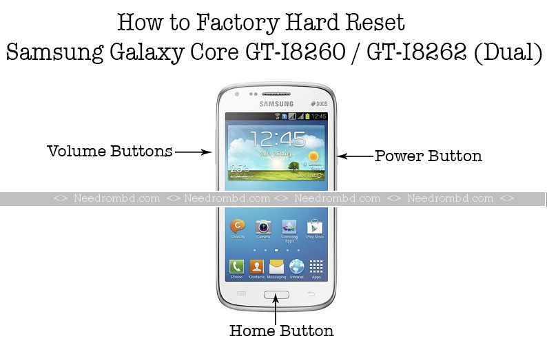SAMSUNG I8262/I8260 Galaxy Core Hard Reset Galaxy, Power