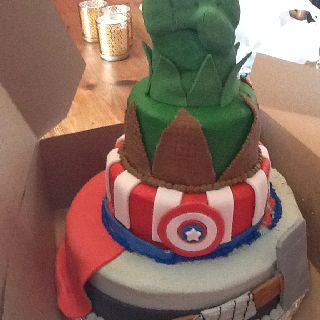 Hulk captain America and Thor birthday cake avengers assemble