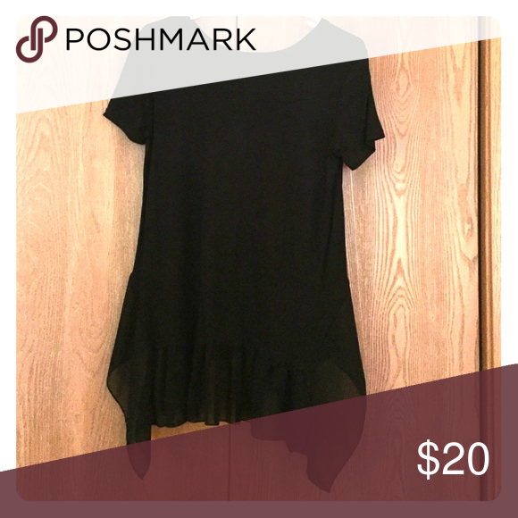 Black T shirt with lace peplum. Classic black lace peplum Pebble and Stone Tops Blouses