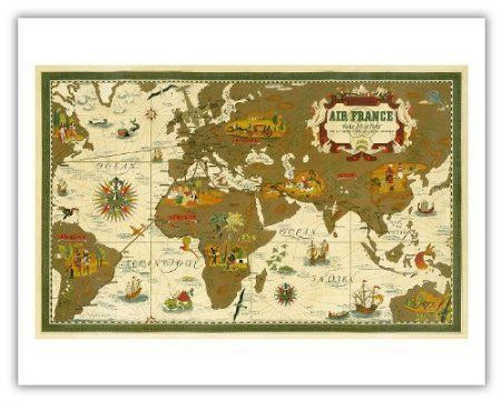 Amazon air france world map by lucien boucher vintage world amazon air france world map by lucien boucher vintage world travel poster gumiabroncs Choice Image