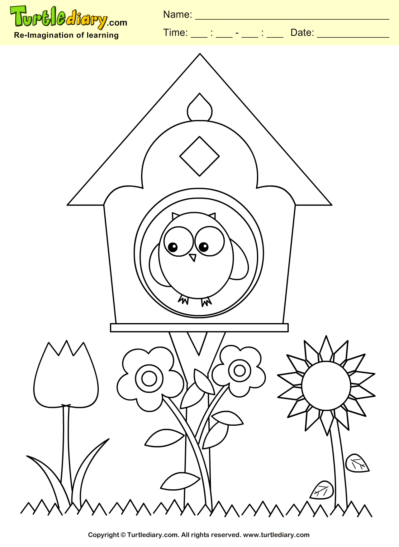 Bird House Coloring Page Coloring Sheet Spring Coloring Pages Coloring Pages Easter Coloring Book