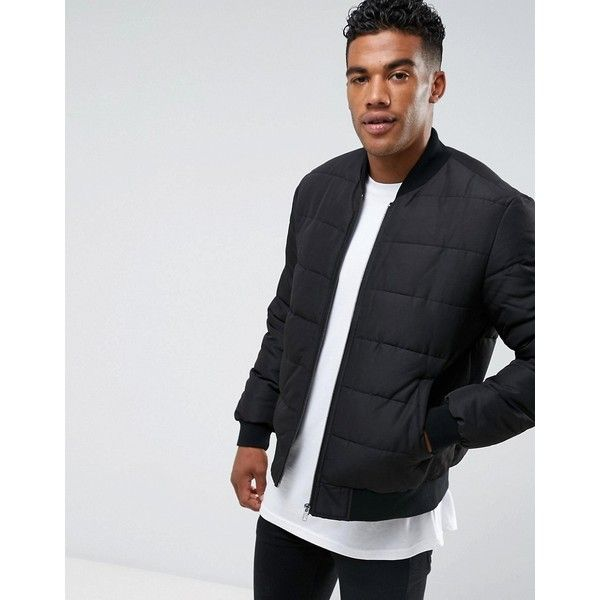 b42263943e ASOS Quilted Bomber Jacket in Black (£44) ❤ liked on Polyvore featuring  men s