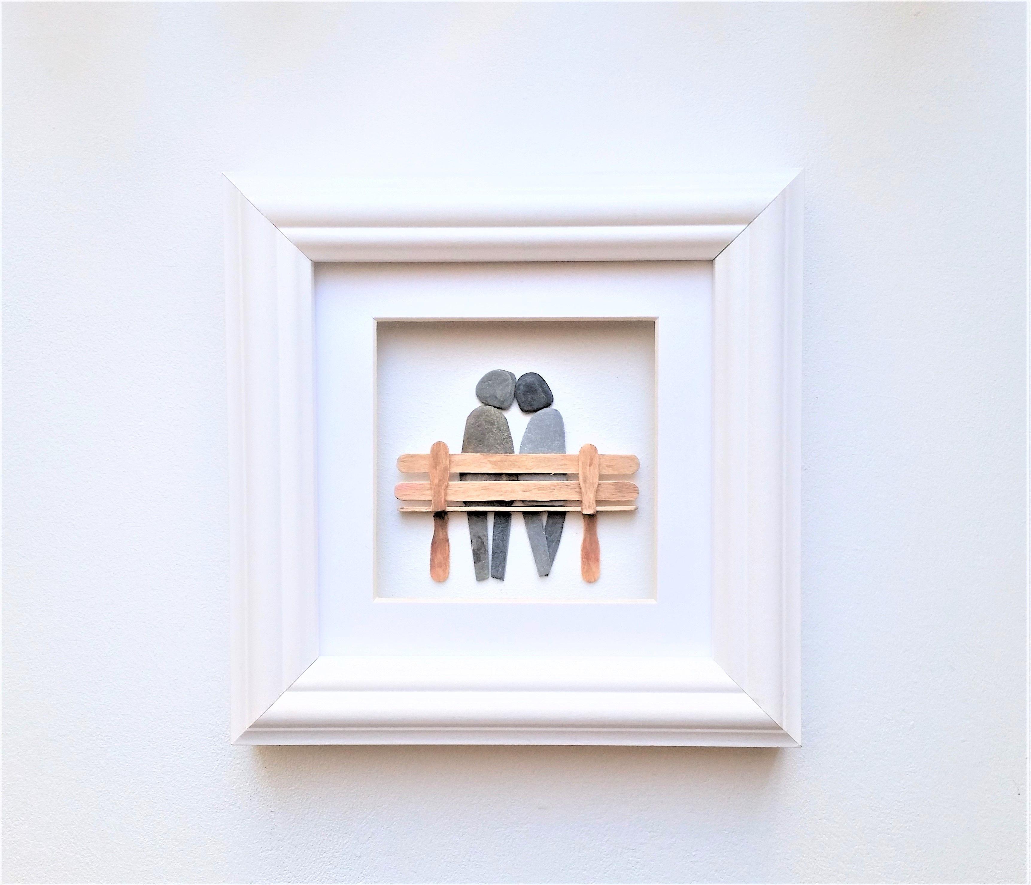 Pebble Art Couple on Bench, Unusual Engagement Gift