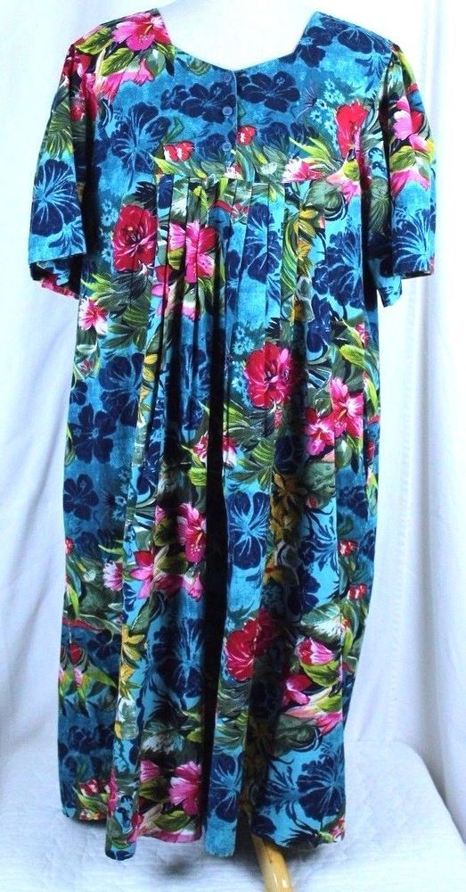 e8ea9664420 Hawaiian Tropical Floral MuuMuu PRINT DRESS Size XL DESERT JEMS  DesertJems   muumuu  SummerBeach