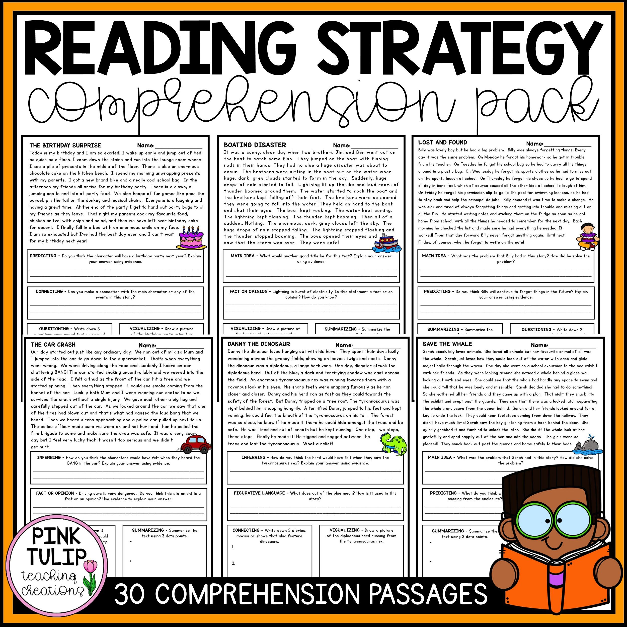 30 Page Reading Strategy Comprehension Pack Reading Strategies Reading Comprehension Strategies Reading Comprehension Worksheets [ 2500 x 2500 Pixel ]