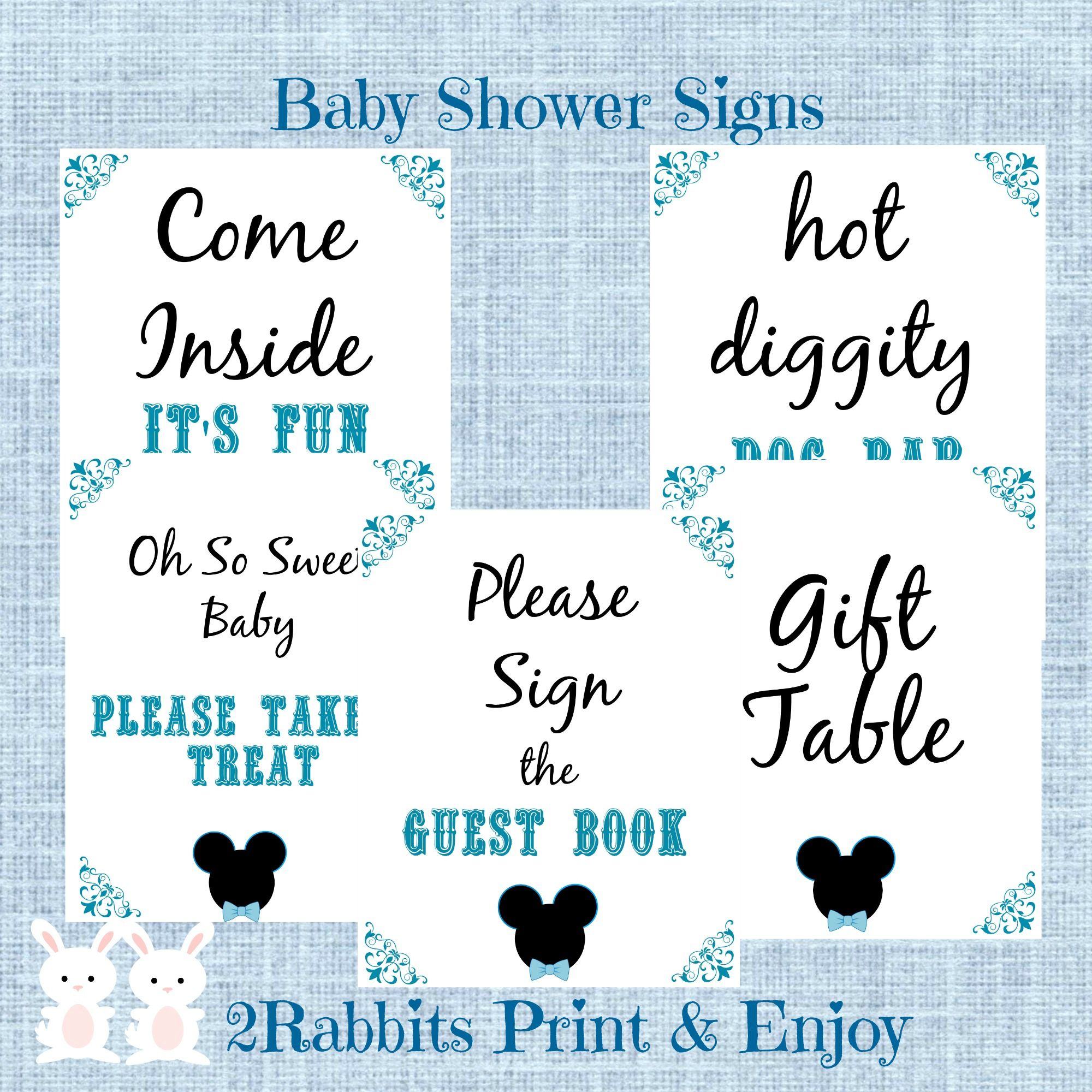 5 Printable Mickey Mouse Baby Shower Table Signs The signs