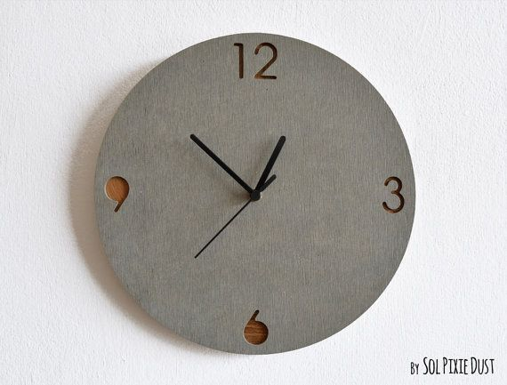 This Minimalist Concrete And Wood Wall Clock By SolPixieDust Is A Cool  Conversation Piece.