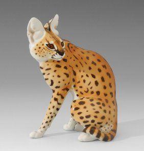 Tierfigur: Sitzender Serval, Nymphenburg, Entwurf: