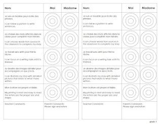 Grade 1 and 2 templates and a blank template for assessing