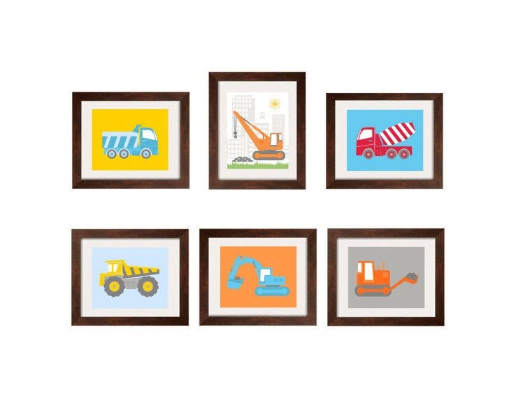 Construction Decor Nursery Wall Art Toddler Boy Prints For Construction  Zone Bedding And Digg It 8X10