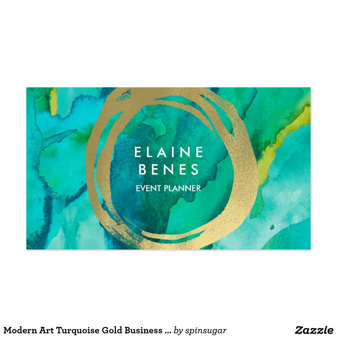 Modern art turquoise gold business card zazzle collection business business cards reheart Gallery