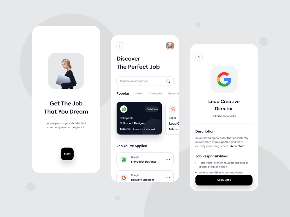 Job Finder Mobile Apps By Fadhilah Rizky For Oww On Dribbble Di 2020