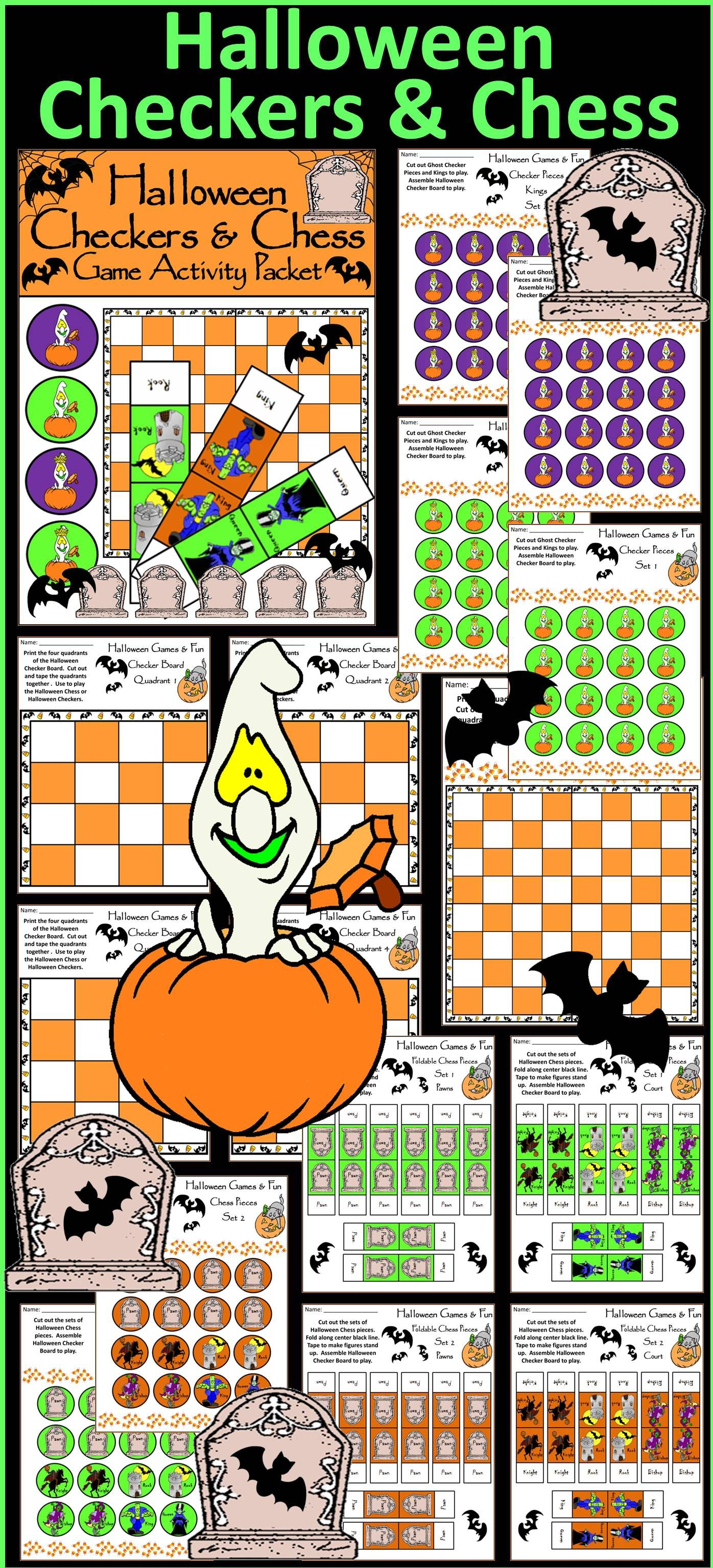 Halloween Activities Halloween Checkers Amp Chess Game Activity Bundle Color Amp Bw