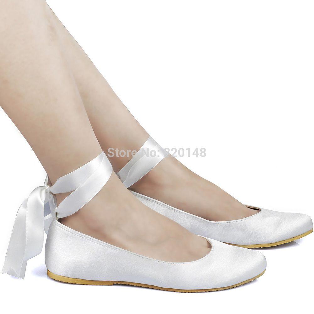 Chaussures femme EP11105 appartements ivoire bout rond ruban dentelle Up Satin  ballerines chaussures de mariage dans Chaussures sans talons pour femmes de  ... bf16d44b6bca