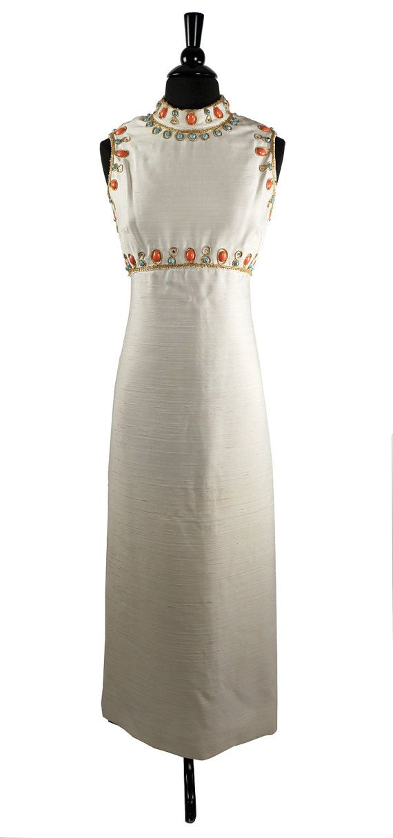 Vintage 1960's Bejeweled  Cleopatra Maxi Dress by TheHoneyWitch