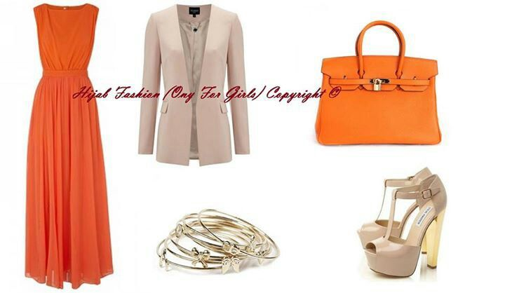 اورنج وبيج Fashion Tres Chic Style