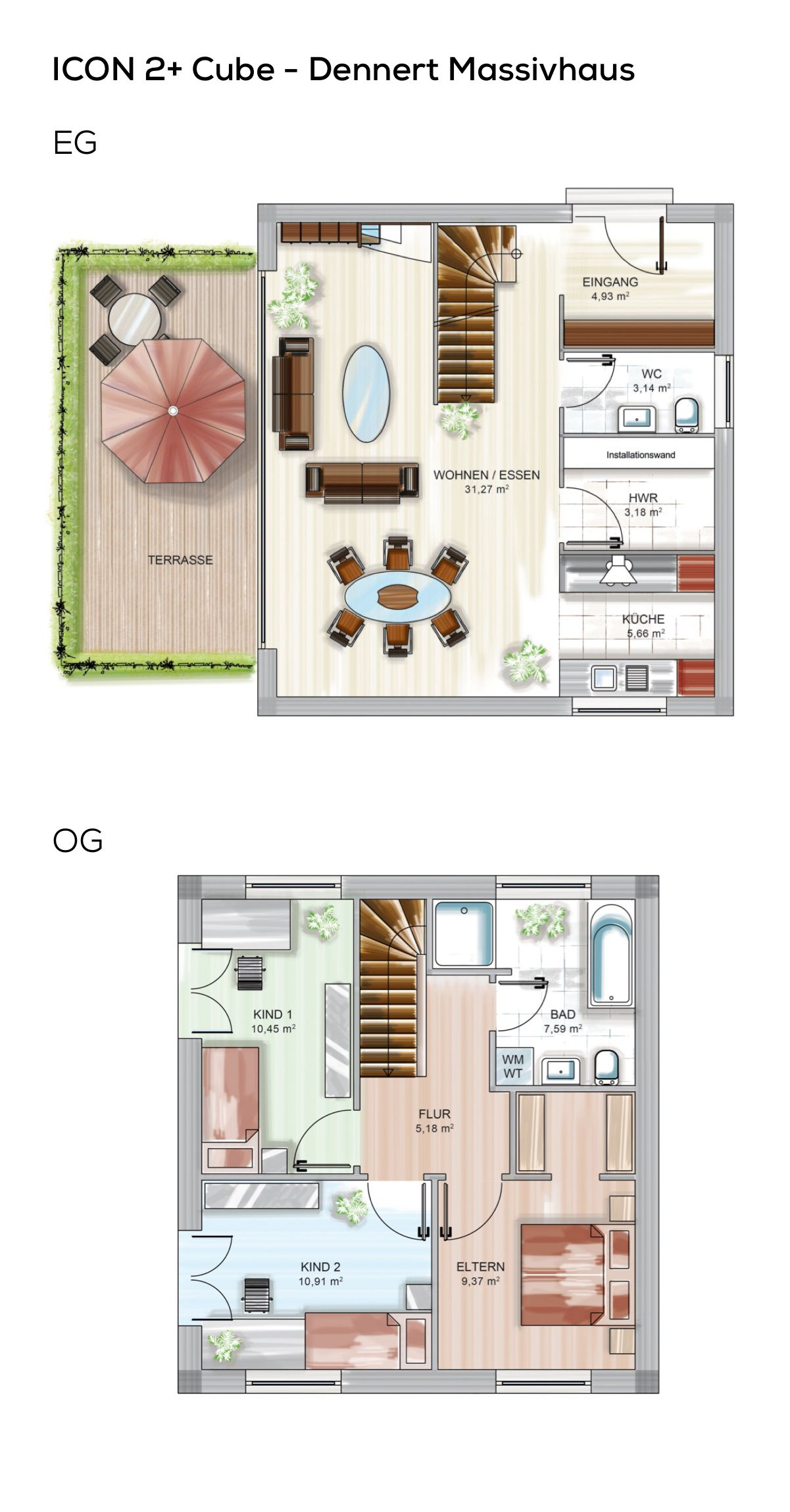 Grundriss Einfamilienhaus modern mit Flachdach Architektur im ...
