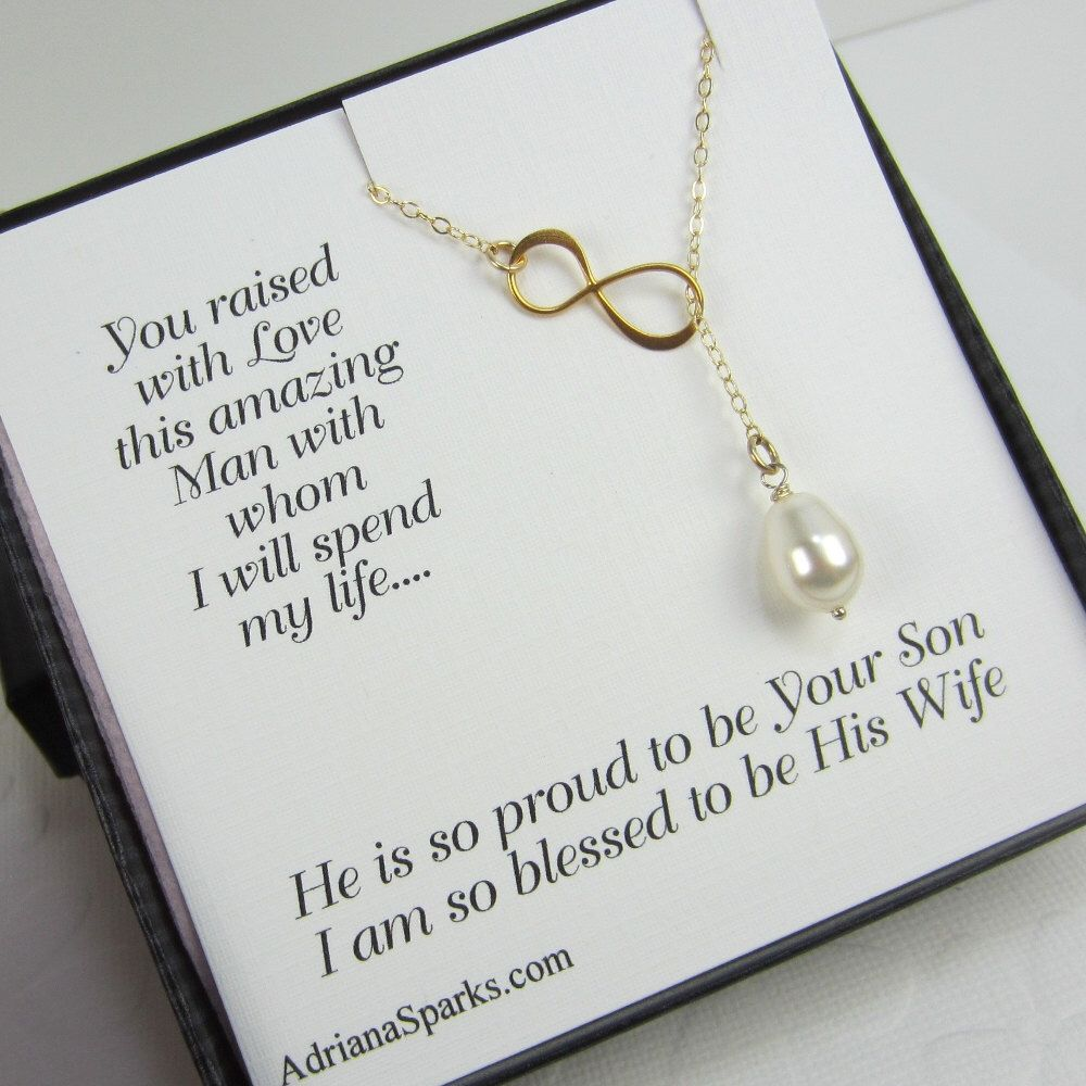 Mother Of The Groom Infinity Lariat Necklace With Pearl