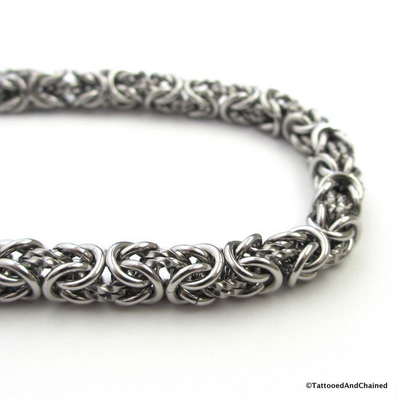 Stainless steel chainmaille bracelet, Byzantine weave with twisted ...