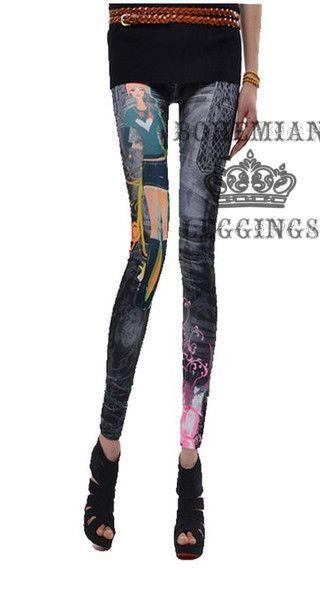 Cartoon Jeans Imitation Jeggings Leggings