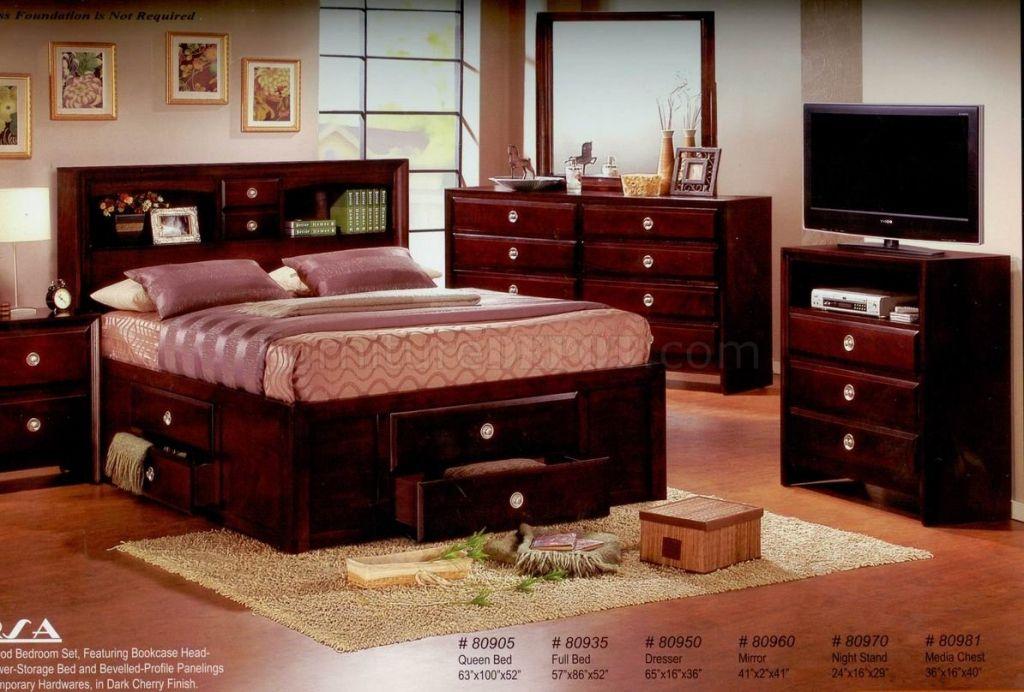 dark cherry wood bedroom furniture interior design ideas for