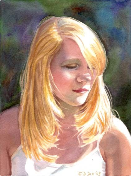 Portrait Of A Blonde Girl Figurative Young Woman Watercolor