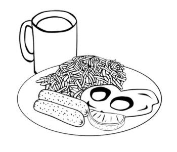 Fast Food Fried Noodles Coloring Page