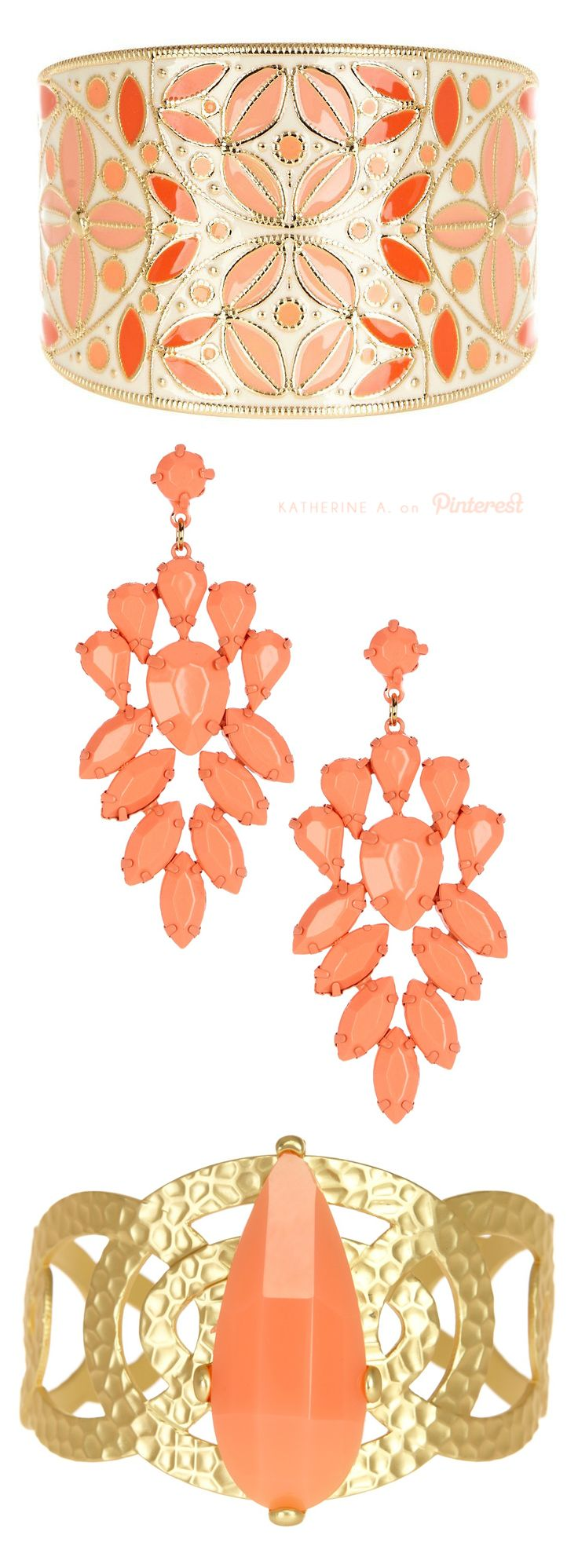Cute jewelry by Meghan LA in Coral and Gold!