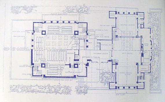 Frank Lloyd Wright Unity Temple Blueprint By