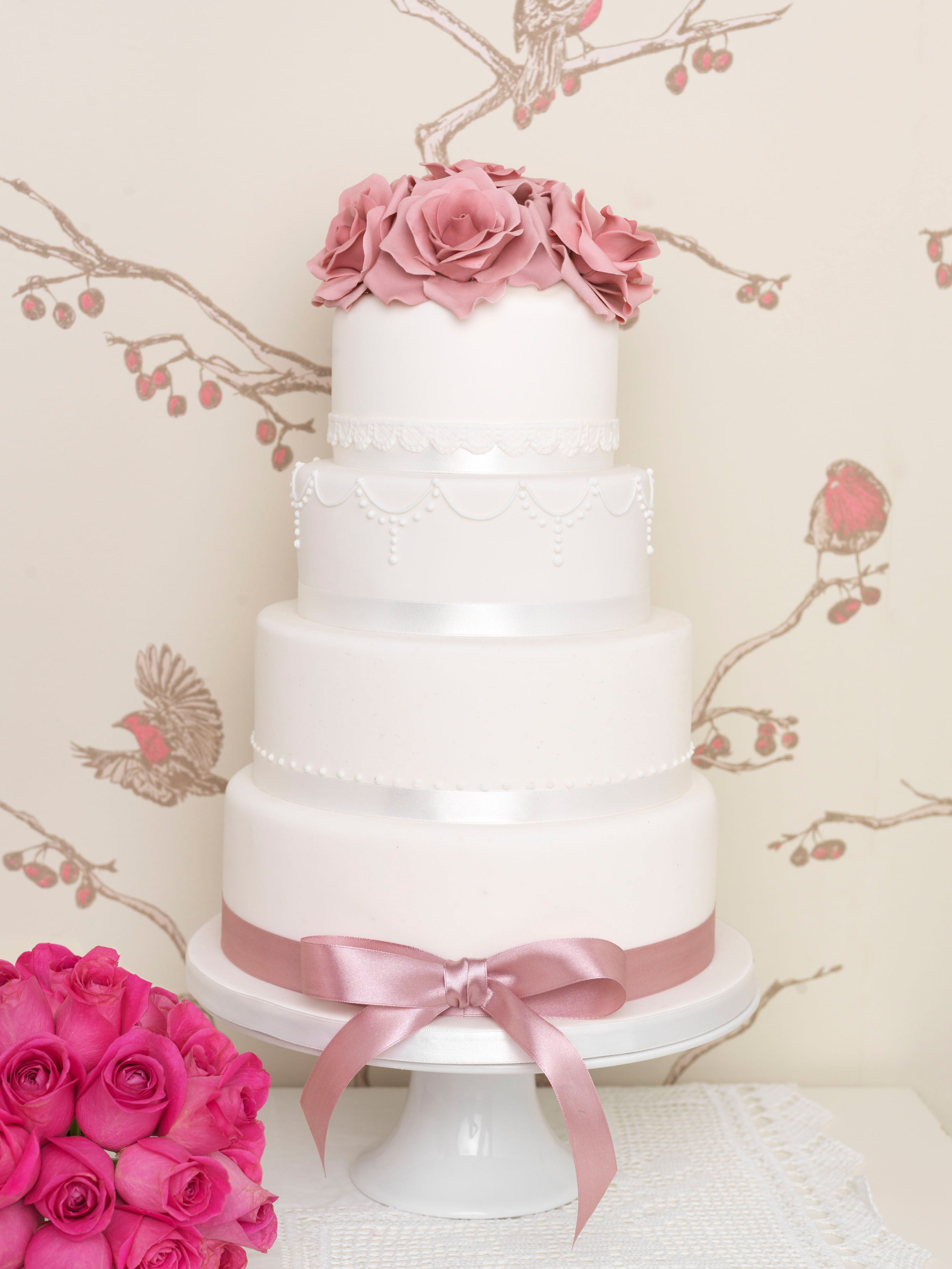 Eden Cake Company Wedding Cakes - Sugar Dusky Pink Roses, Sugar Lace ...