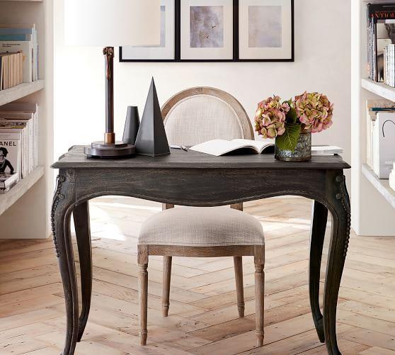 Louis Desk Chair Gray Wash Neutral Furniture Office
