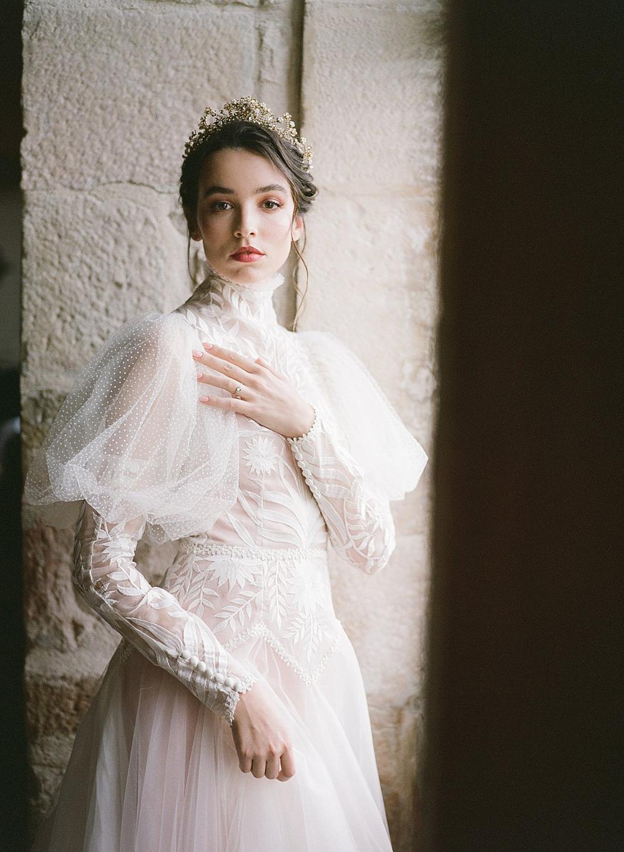 Helianthus Juliet Sleeve Bridal Gown By Joanne Fleming Design High Neck Wedding Dress Wedding Dress Couture Long Wedding Dresses [ 1365 x 1000 Pixel ]