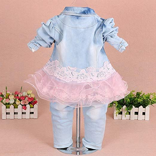 61b7a11f6 Amazon.com: YAO Baby Girls Denim Clothing Sets 3 Pieces Sets T Shirt Denim  Jacket and Jeans (3-4 Years): Clothing