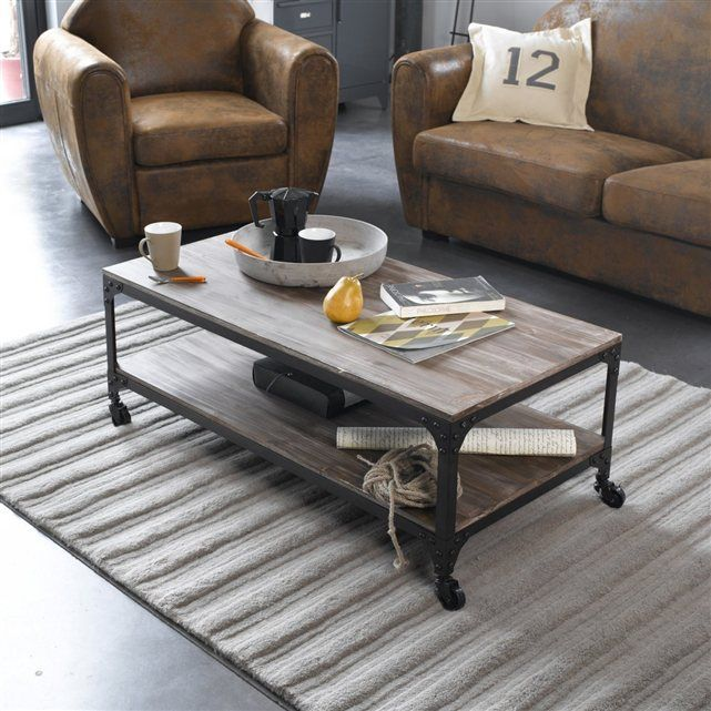 Table Basse A Roulettes Style Indus 2 Modeles Hiba Table Basse Table Basse Roulette Table Basse La Redoute