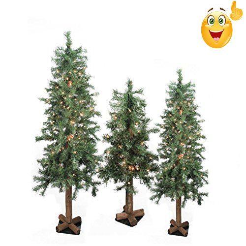 Set of 3 Pre-Lit Woodland Alpine Artificial Christmas Trees 3\u0027, 4